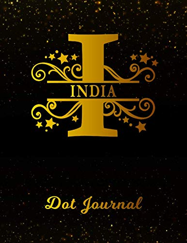 India Dot Journal: Letter I Personalized First Name Personal Dotted Bullet Grid Writing Notebook | Black Gold Glittery Space Effect Cover | Daily ... & Writers for Note Taking & Drawing (Best Gift For Mother In Law India)