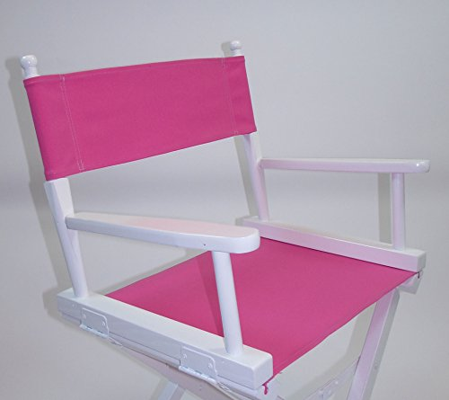 PERSONALIZED IMPRINTED Gold Medal Contemporary 18'' Table Height White Frame Directors Chair - Pink by TLT