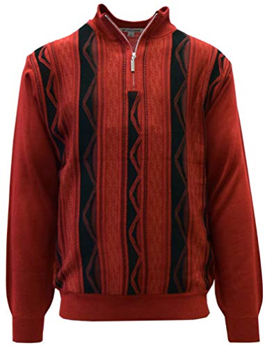 STACY ADAMS Men's Sweater, Honeycomb Jacquard Design (XXL, Red)