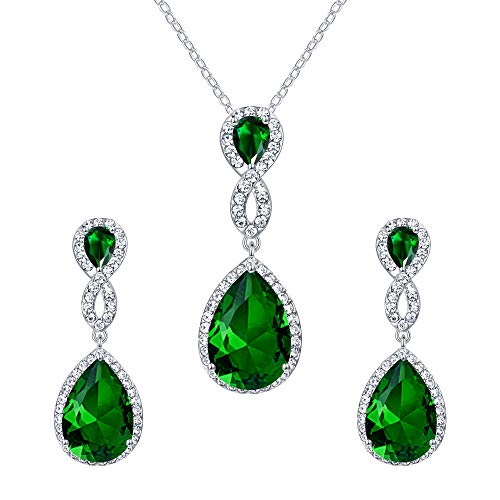 EVER FAITH 8-Shape Emerald Color CZ Necklace Earrings Set Austrian Crystal Silver-Tone ()
