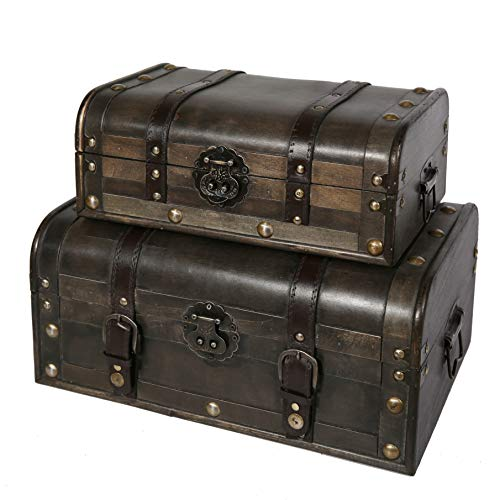 Soul & Lane Explorations Decorative Wooden Storage Boxes (Set of 2) | Antique Vintage Trunk Chest with ()