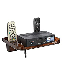 Yo India Set Top Box Shelves Brown with Remote Holder/Tv Set Top Box Stand with Remote Holde/Wall Mount WiFi Stand/Mobile Charging Dock