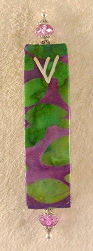 (Elegant Mezuzah Case - Lime and Purple Batik)