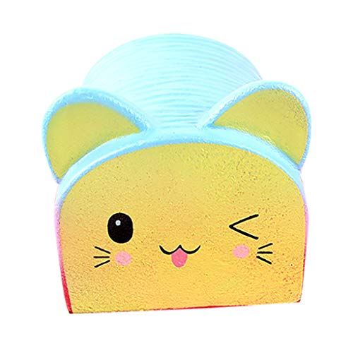Cute Emoji Jumbo Slow Rising Kawaii Creamy Scented Big Bread Squishies Toy for Collection Gift by Mikilon (Blue)]()
