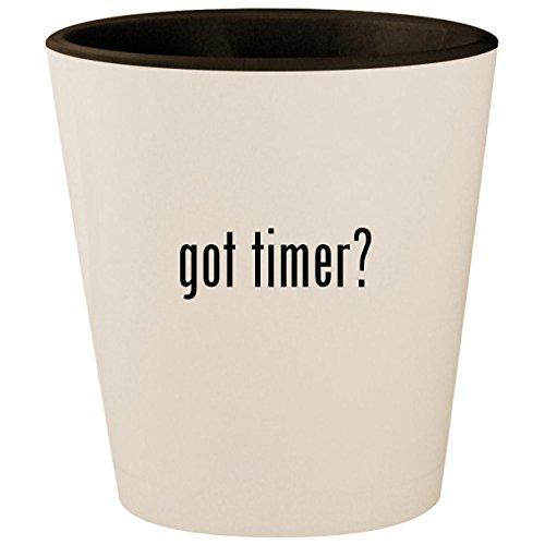 got timer? - White Outer & Black Inner Ceramic 1.5oz Shot Glass