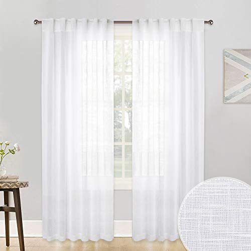 RYB HOME Living Room White Sheer Curtains Window Treatment Drapes Dreamy Textured Line Look Thick Semi-Volie Set for Interior Spaces/Sliding Glass Door, Sunlight Through, 52