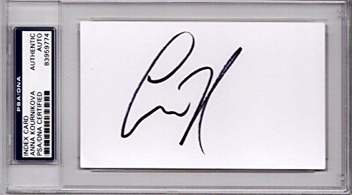 Anna Kournikova Autographed Signed 3x5 inch Index Card - Tennis Star and Model - PSA/DNA Authenticity (COA) - PSA Slabbed Holder from Sports Collectibles Online