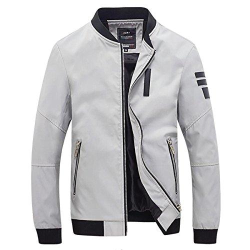 ICOOLYI Men's Casual Lightweight Front Zip Jacket JK1085 (Large, White)