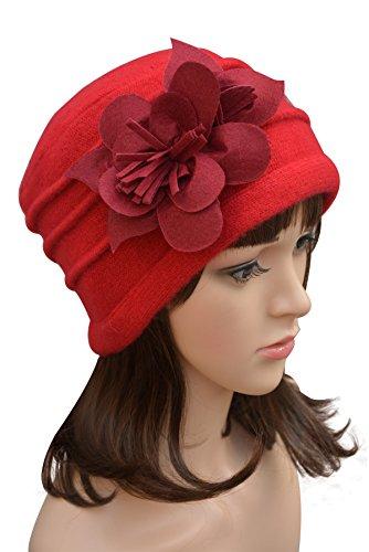 (Felt Flower Trimmed Womens Warmer Wool Beanie Cap Dress Crochet Hat A123 (Red))