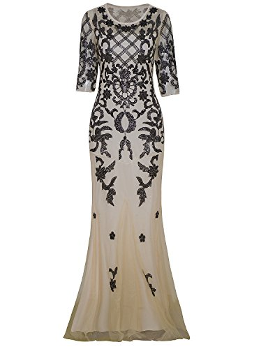 Vijiv Vintage 1920s Long Wedding Prom Dresses 2/3 Sleeve Sequin Party Evening Gown Black Beige Large (Best Hairstyles For Evening Party)