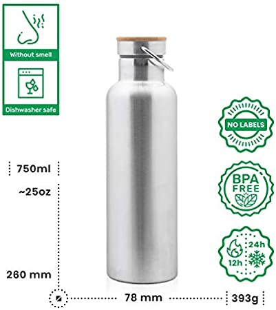 Pure Design Aislado & Normal Acero Inoxidable Botella 750 ml – bambú Tapa, sin BPA, sin Logotipos. Botella de Agua 0.75L. Duración de 110% Garantía.