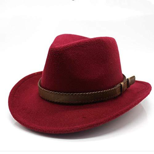 (MingDe Sports Women's Men's Wool Hollow Western Cowboy Hat with Belt Gentleman Lady Jazz Cowgirl Jazz Hats Wine)