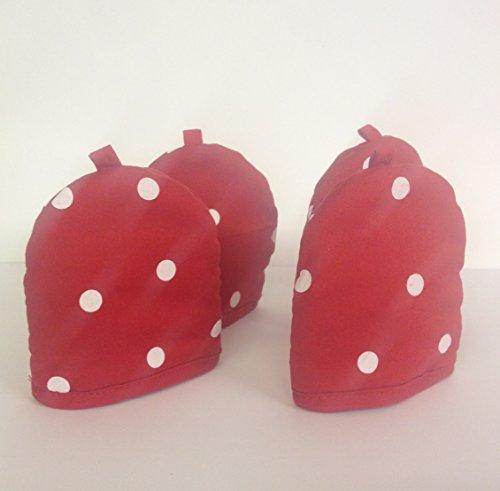 Set 4Stück 100% Baumwolle Eierwärmer ~ groß rot & weiß Polka Dot Eierwärmer