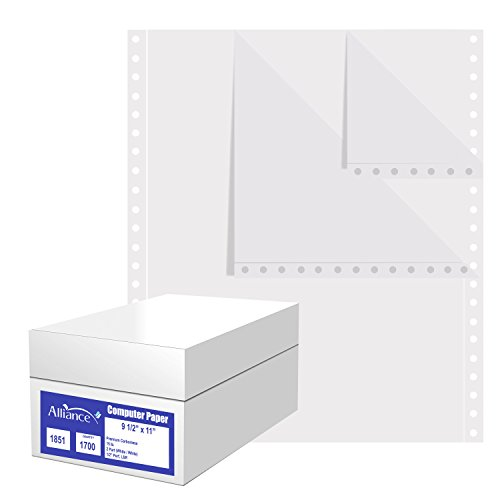 Alliance Premium Carbonless Computer Paper, 9.5 x 11, Blank Left and Right Perforated, 15 lb, 2-Part White/White (1,700 Sheets) - Made In The (Blank Carbonless Forms)