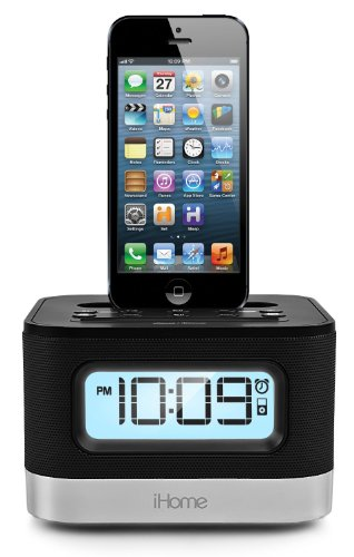 Price comparison product image iHome Clock Radio with Lightning Dock and USB Port for Charge / Play for iPhone 5 / 5S,  5th Generation iPod Touch or 7th Generation iPod Nano,  Reson8 Speaker Chambers with Built-In EXB Sound Enhancement System,  and FM Radio and 6 Memory Presets