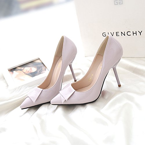 MDRW-Lady/Elegant/Work/Leisure/Spring 9Cm Pointed High-Heeled Shoes With A Fine Single Shoes Purple Sexy All-Match Bridesmaid Shoes Shoes 36 by Olici
