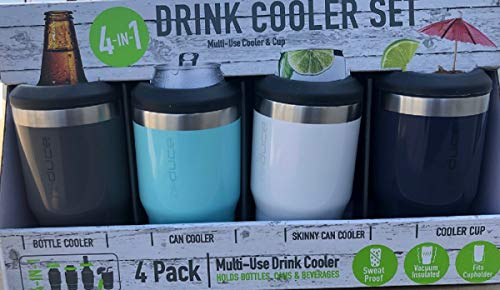 REDUCE Cold Bottle/Can Cooler, - Double Wall Vacuum Insulated Sweat-Free 4 Pack (Grey-Mint-White-Dark Blue)