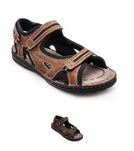 Zerimar Sandales En Cuir Pour Les Hommes Trekking Sandales Sandales De Randonnée Moka Couleur Taille 45