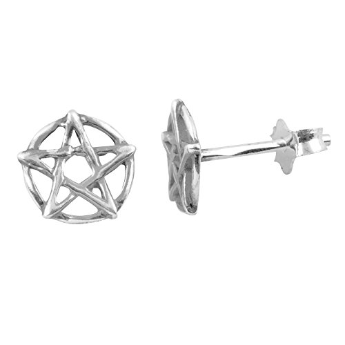Sterling Silver Pentagram Star Stud Earrings - 8mm