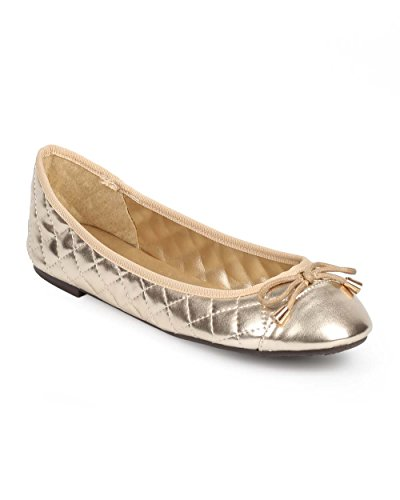 ed Bow Cap Toe Ballet Flat DD95 - Gold (Size: 9.0) (Cap Toe Quilted Flats)
