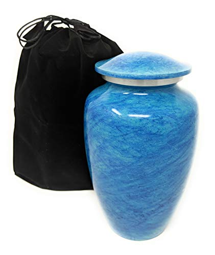 Cremation Urn with Lid for Adult Human Ashes | Blue Vase to Hold Your Loved One | Beautiful Classic Keepsake | Includes Free Accessories