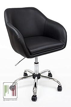 Stil Sedie Poltrona Sedia girevole da cameretta e ufficio con scocca in eco-pelle con base in metallo e doppia imbottitura, seduta con imbottitura comoda. Modello Fox (Bordeaux)