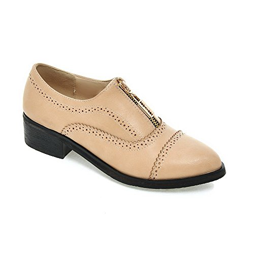 AmoonyFashion Womens Solid PU Low-Heels Pointed Closed Toe Zipper Pumps-Shoes Apricot gZovNgW
