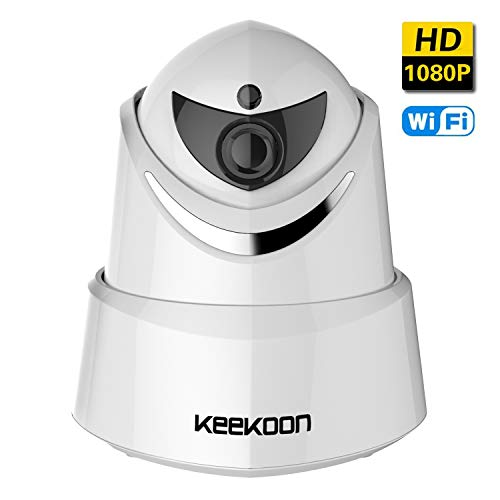 KEEKOON WiFi IP Camera, 1080P HD Security Wireless Surveillance Camera Home System Monitor for Baby Elder Pet, Pan/Tilt/Zoom, Two-Way Audio, Night Vision Micro SD Card Slot (White) by Keekoon