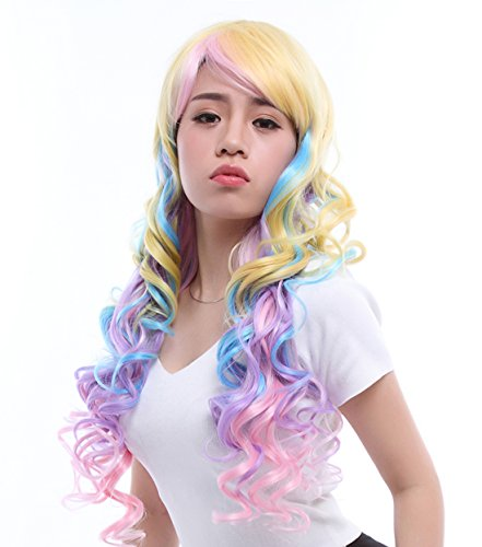 70cm/27.55inch Harajuku Rainbow Bright Colorful Sexy Lady Cosplay Women Costumes Hair Wigs Ml183 (Rainbow Bright Fancy Dress)