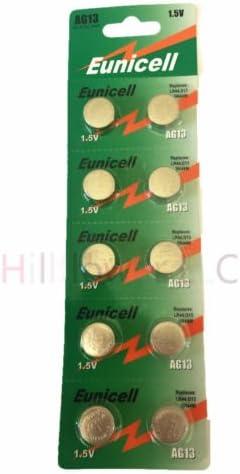 Hillflower 50 Piece AG13 LR44 LR1154 G13 357A Bulk 0/% Hg 1.5V Long Duration Alkaline New Battery