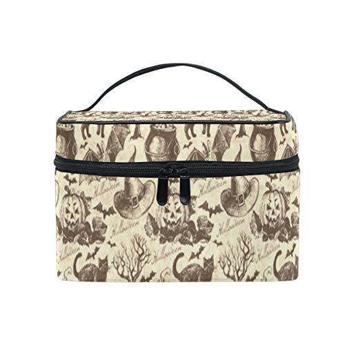 Cosmetic Bag Halloween Witch Hat Cauldron Fall Jack Lantern Black Cat Womens Makeup Organizer Girls Toiletry Case Box Lazy Zip -