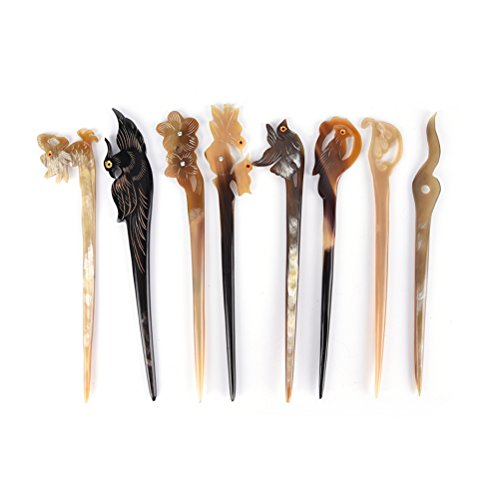 Ioffersuper 8 Pcs Different Pattern Classic Hand Polished Horn Original/Retro Stick Hair Pin For Women Lady,Pattern Random by Ioffersuper (Image #3)