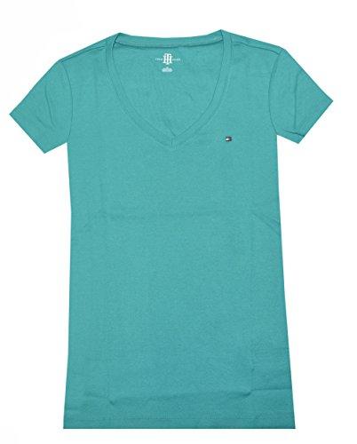 Tommy Hilfiger Slim Fit V-neck Women Logo T-shirt (Large, Light sea green)