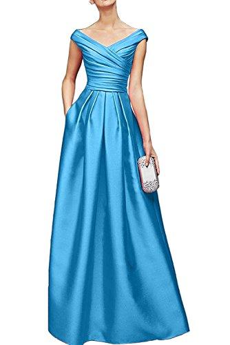 Royal Bodenlang Marie V Abendkleider Satin Damen Ausschnitt La Blau Brautmutterkleider Promkleider Blau Braut dtYqWwP