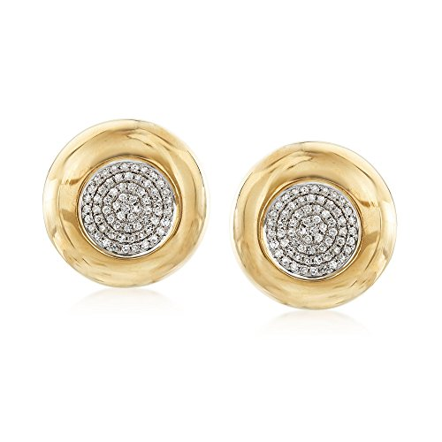 Ross-Simons 0.65 ct. t.w. Pave Diamond Circle Earrings in 14kt Yellow Gold ()
