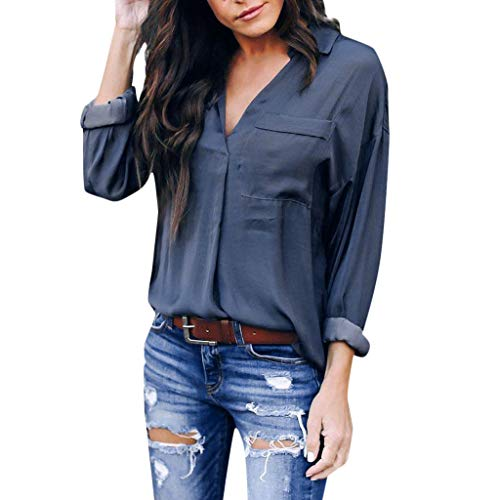 Sunhusing Women's V-Neck Pocket Lapel Long-Sleeve Shirt Ladies Work T Shirts Tee Tops Gray