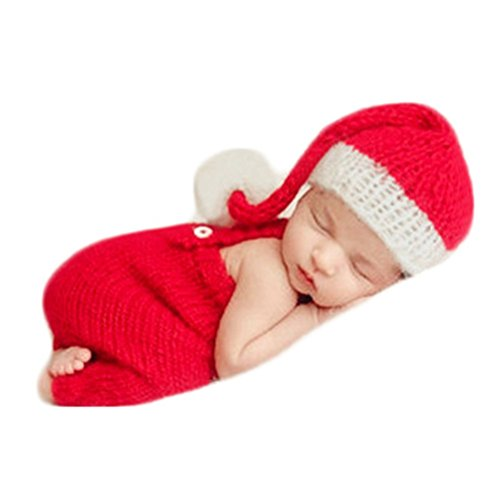 Baby Photography Props Boy Girl Photo Shoot Outfits Newborn Crochet Costume Infant Knitted Christmas Clothes Hat Rompers Red ()