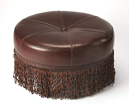 Cosmopolitan Dark Brown Round Chestnut Brown Leather, MDF, Merranti wood solids, Urethane foam, Poly fiber BUTLER ALINA BROWN LEATHER ROUND COCKTAIL OTTOMAN
