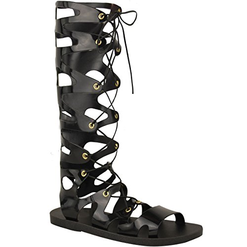 Fashion Thirsty Womens Knee High Lace Up Jelly Sandals Gladiator Flat Summer Shoes Sandals Size 8 (Roman Outfits For Womens)