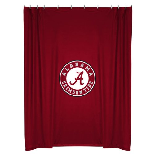 Alabama Crimson Tide COMBO Shower Curtain, 4 Pc Towel Set & 1 Window Valance/Drape Set (63 inch Drape Length) - Decorate your Bathroom & SAVE ON BUNDLING! by Sports Coverage