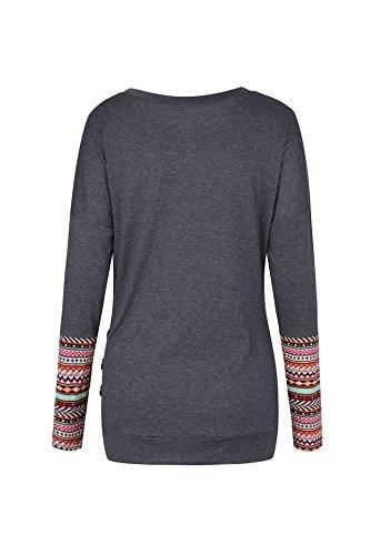 Fox Shirt Longues Fr Slim Tops Noir2 Chemisiers Shirts et Rond Jumpers Sweat Hauts Pulls Manches T Automne ulein Casual Femmes Mode Col Printemps 67nqU5wr7
