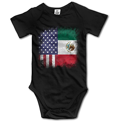 Mexican Crystal (Crystal MOO American Mexican Flag Baby Clothing Short-Sleeve Infant Onesies Customized Cute Rompers Black 3M)