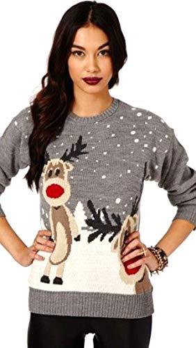 Grey Shineflow Top Elfe Reinder Renne Pull De Noël Pour Rudolph Femme Tricoté Fantaisie 2 wxnqTOFfw
