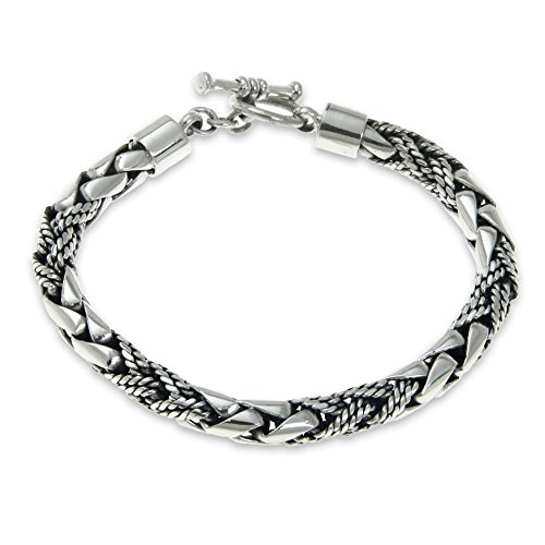 NOVICA Braided .925 Sterling Silver Men's Bracelet with Dragon Head Clasp, 8.75