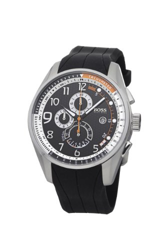 Hugo Boss Men's Quartz Watch with Black Dial Chronograph Display and Black Silicone Strap 1512366