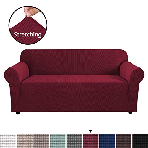 Stretch Slipcovers, Sofa Covers for 3 Cushion Couch, Sofa Covers for Living Room, Sofa Slipcover Furniture Protector 1 Piece Spandex Jacquard Fabric Small Checks (Large Size: Burgundy Red) (Cushions Red Couch)