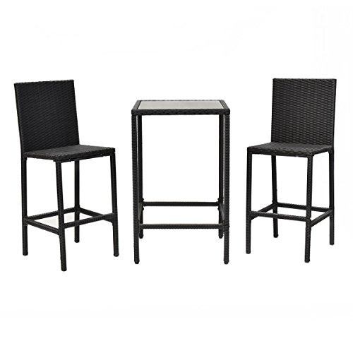 GHP 3-Pcs Aluminum Frame & Rattan Wicker Bistro Barstool Chair & Table Furniture Set price