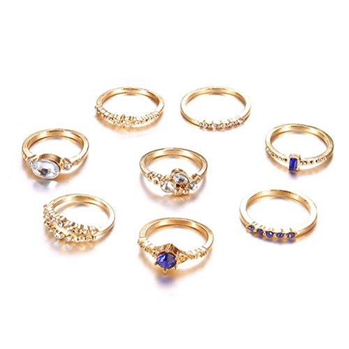 Balakie Stackable Wedding Band Diamond Lover Ring Rhinestone Knuckle Joint Midi Rings
