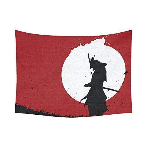 (INTERESTPRINT Japanese Flag Home Decor Tapestries Wall Art,Samurai Katana Tapestry Wall Hanging Art Sets 80 X 60 Inches)