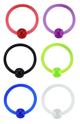 6 pc Red, Clear, Black, Purple, Yellow & Blue Acrylic Captive bead Ring lip, belly, nipple, cartilage, tragus, septum, earring hoop 14g ()